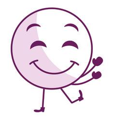 face emoticon kawaii character vector image