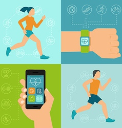 fitness icons and in flat style vector image vector image