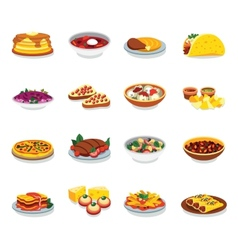 Flat design icons food vector image vector image