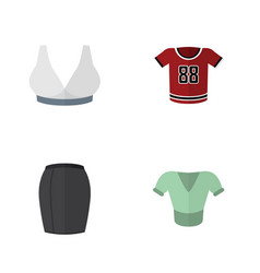 Flat icon dress set of t-shirt casual brasserie vector