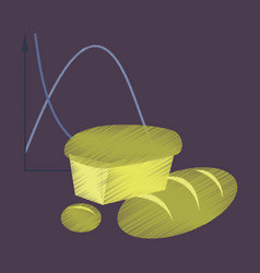Flat shading style icon bread chart vector