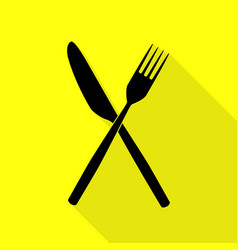 Fork and knife sign black icon with flat style vector