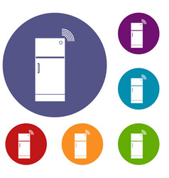 Fridge icons set vector