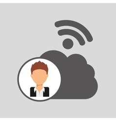 Guy cartoon wifi cloud connection vector