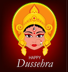Happy dussehra greeting card maa durga face for vector