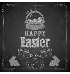 Happy Easter on chalkboard vector image vector image