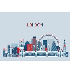 London England City Skyline Flat Trendy vector image