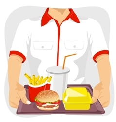 male fast food restaurant employee holding tray vector image