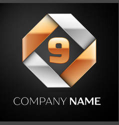 Number nine logo symbol in the colorful rhombus on vector