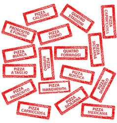 Restaurant menu rubber stamps with pizza types vector