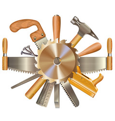 Saw blade with retro tools vector