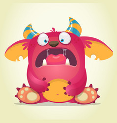 scared cartoon pink monster vector image vector image