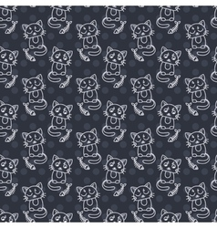 Seamless pattern of cute cat characters Fishbone vector image