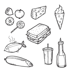 Set of doodle food elements vector image