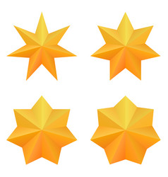 Set of four golden seven point stars vector