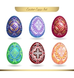 Set of realistic eggs on white background Easter vector image vector image