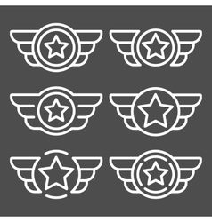 Set of the white emblems with wings vector image vector image