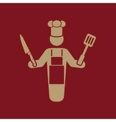 The cook icon chef and barbecue restaurant vector
