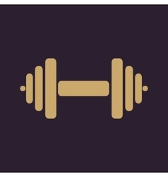 The dumbbell icon Barbell symbol Flat vector image