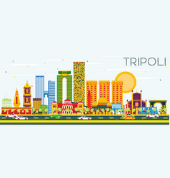 Tripoli skyline with color buildings and blue sky vector