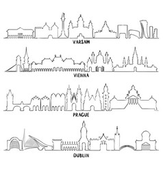 warsaw vienna prague and dublin vector image