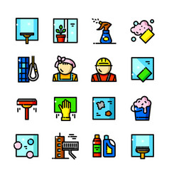 Window cleaning services icons vector