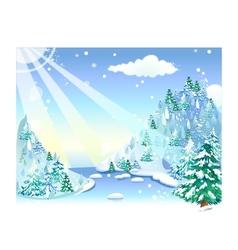 Winter snow landscape vector