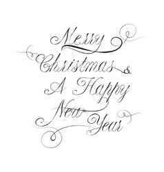 Xmas and new year lettering in calligraphy style vector