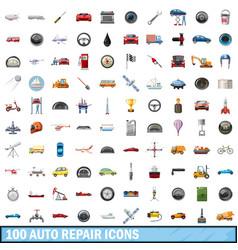 100 auto repair icons set cartoon style vector