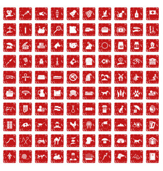 100 pets icons set grunge red vector image