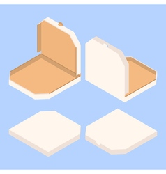 Empty isometric pizza boxes vector