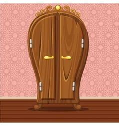 Cartoon funny closed retro wardrobe vector