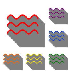 waves sign  set of red orange vector image