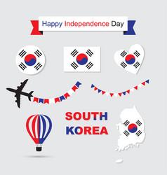 south korea flag and map icons set vector image