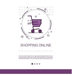 online shopping mobile store banner with copy vector image
