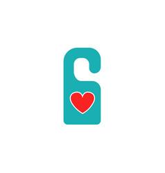 do not disturb with heart solid icon door hanger vector image