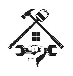 Symbol home repairs with a tool vector