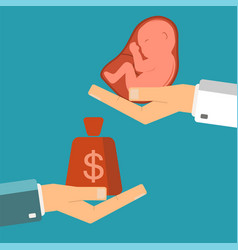Hand of businessman with money and a embryo in vector