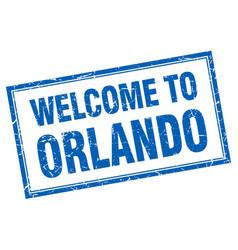 Orlando blue square grunge welcome isolated stamp vector