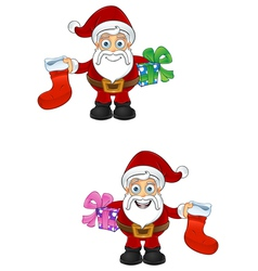 Santa claus stocking present vector