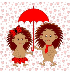 A funny cartoon couple with umbrella vector