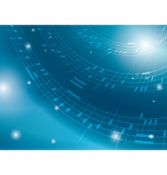 Blue background with musical notes vector