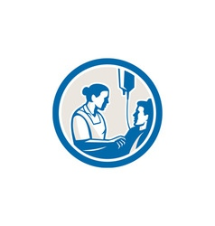 Nurse tending sick patient circle retro vector