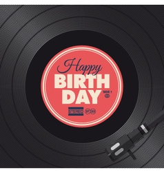 Vinyl happy birthday red card vector