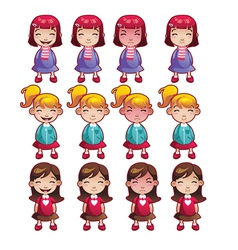 Girls emotions set vector