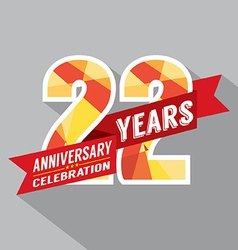 22nd years anniversary celebration design vector
