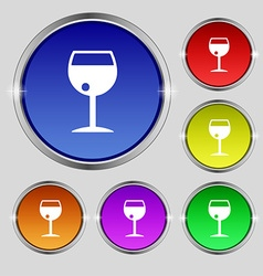 Glass of wine icon sign round symbol on bright vector