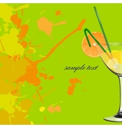 Orange cocktail refreshing drink vector