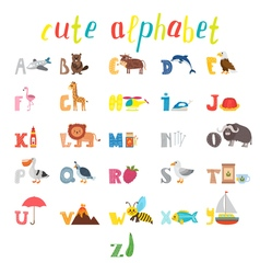 ABC Children alphabet with cute cartoon animals vector image