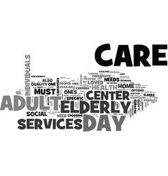 adult day care center text word cloud concept vector image vector image